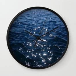 Sparkly Deep Blue Sea Waves Wall Clock