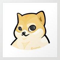 doge Art Prints featuring PLAIN DOGE by ocamixn