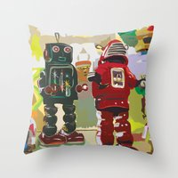 robots Throw Pillows featuring Robots by Five Ate Five Studios