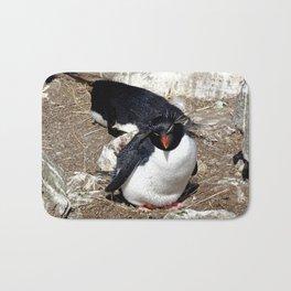 Rockhopper Penguin Sitting on Egg Bath Mat