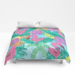 Tropical Flamingo Jungle Comforters