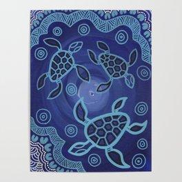 Aboriginal Art Authentic - Sea Turtles Poster