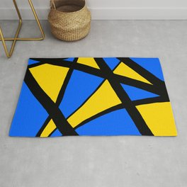 Yellow and Blue Triangles Abstract Rug