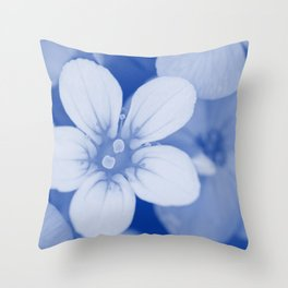 Background of small flowers. Shallow depth of field. Blue toned. Throw Pillow