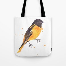 Baltimore Oriole, Bird paintings, black and orange, american birds, ornithologist pillow Tote Bag