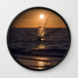 Summersunset with Boat - Warnemuende - Baltic Sea Wall Clock