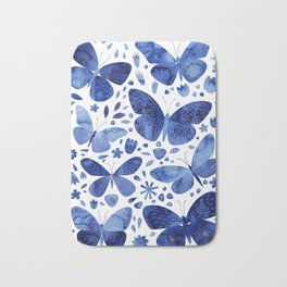 Blue Butterflies Bath Mat