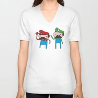 mario bros V-neck T-shirts featuring Mario Bros. by Justin Temporal