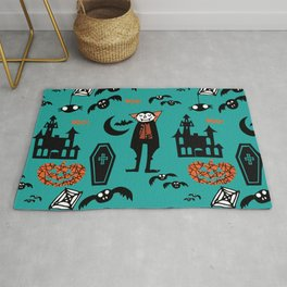 Cute Dracula and friends teal #halloween Rug