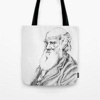 darwin Tote Bags featuring Charles Darwin by Noelle Fontaine