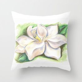 Southern Magnolia Blossom Pastel Throw Pillow