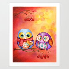 Fall Colors Owls and Pumpkin Pie Art Print