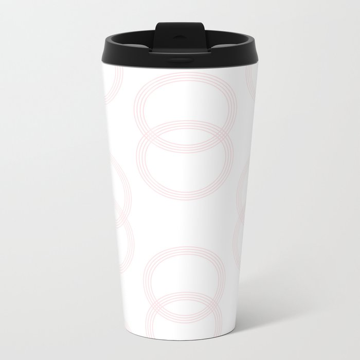 Simply Infinity Link in Flamingo Pink on White Metal Travel Mug