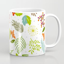 Falling forest leaves with snowflakes Coffee Mug