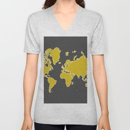 World map in mustard yellow and slate gray Unisex V-Neck
