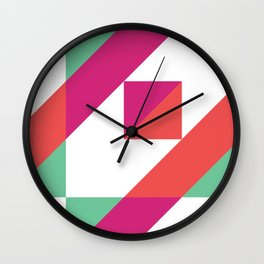Hot Pink, Neon Grapefruit and Neon Turquoise Color Block Wall Clock