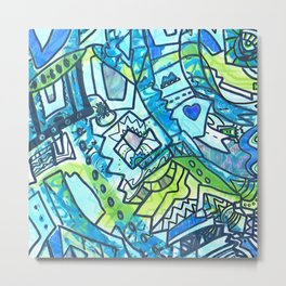 Spring time geometric abstract drawing Metal Print