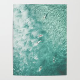Surfing in the Ocean Poster