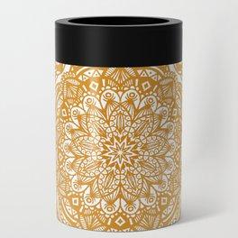 Golden Mustard Yellow Orange Ethnic Mandala Detailed Can Cooler