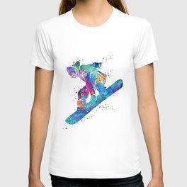 Girl Snowboarding 3 Colorful Watercolor Winter Artwork T-shirt