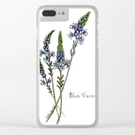 Blue Vervain Clear iPhone Case