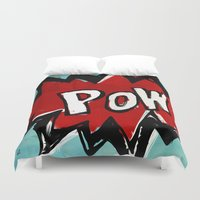 comic book Duvet Covers featuring Comic Book: Pow! by Ed Pires