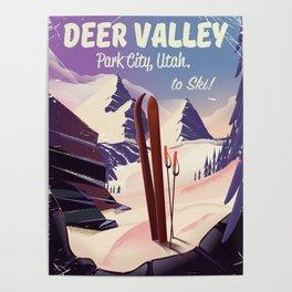 Deer Valley, park city, Utah, ski poster print. Poster