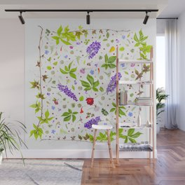 Leaves and flowers pattern (33) Wall Mural
