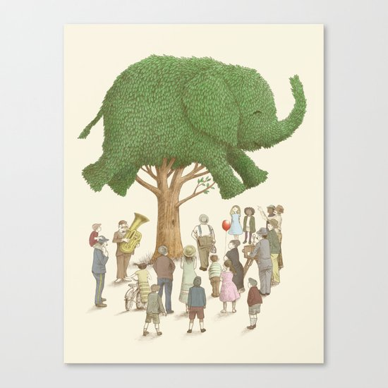 The Night Gardener - Elephant Topiary  Canvas Print