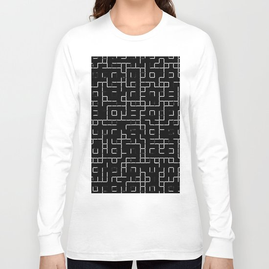 Maze - Black and white, abstract, maze pattern Long Sleeve T-shirt