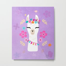 Cute Happy Llama - Purple Boho Alpaca with Flowers Metal Print