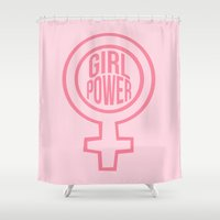girl power Shower Curtains featuring girl power by jupiter