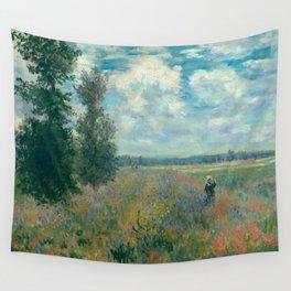 Poppy Fields near Argenteuil by Claude Monet Wall Tapestry