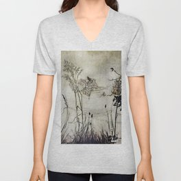 """Fairies Dancing on Spiderweb"" by Arthur Rackham Unisex V-Neck"
