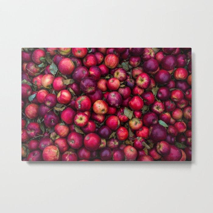 Red Apples Fruit pattern Metal Print