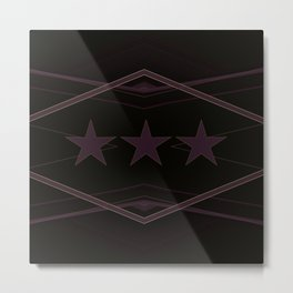 Dark Purple Abstract Star Pattern Metal Print