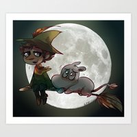 moomin Art Prints featuring Moon-min by lemonteaflower
