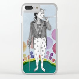 clown and lots of dots Clear iPhone Case