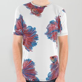 Ocean Theme- Red Blue Betta Fish All Over Graphic Tee
