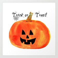 Trick or Treat Jack-O-Lantern, Halloween Pumpkin Art Print