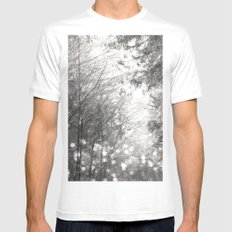 Forest - Black and White Forest Magical Fireflies White Mens Fitted Tee MEDIUM