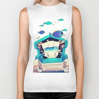underwater Biker Tanks featuring Underwater by Coralus