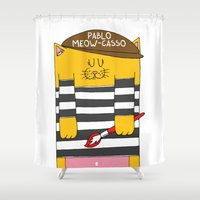 pablo picasso Shower Curtains featuring Pablo Meow-casso by Adrian Serghie