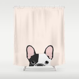 French Bulldog peeking cute black and white frenchie must have dog mom pet lover gifts Shower Curtain