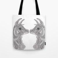 llama Tote Bags featuring Llama by Olya Goloveshkina