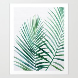 Emerald Palm Fronds Watercolor Art Print