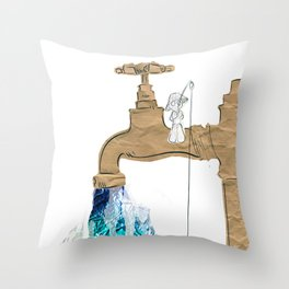 Paper Faucet Throw Pillow