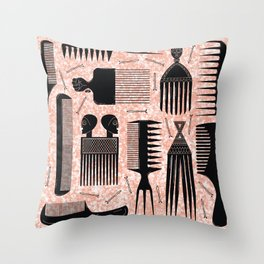 Comb Through red Throw Pillow