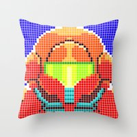 metroid Throw Pillows featuring Metroid Tiles by James Brunner
