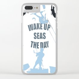Wake Up Seas The Day Kiteboarder In Teal Shades Clear iPhone Case